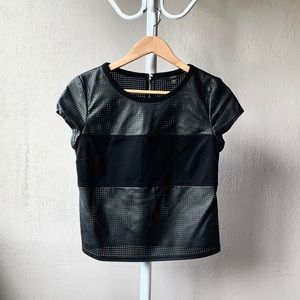 Guess Black Perforated Leather Tee Top S